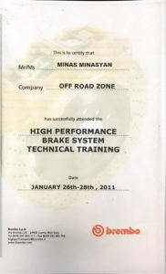 High Performance Break System Technical Training